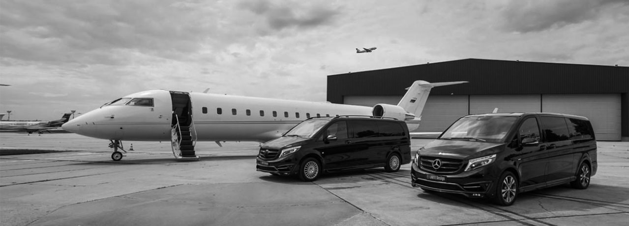 Minibuses ready for airport transfers